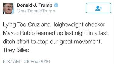 "Trump's ""chocker"" tweet from 2016."