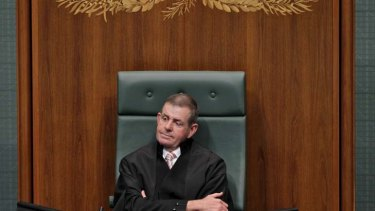 Back to the future … the Speaker of the House of Representatives, Peter Slipper, wore robes to preside over question time as Parliament resumed yesterday.