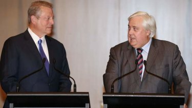Clive Palmer, pictured with former US vice president Al Gore last week, says all senators in the Palmer United Party support the renewable energy target unchanged.