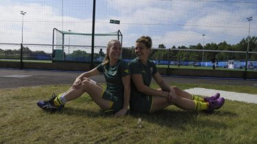 Crookwell's Emily Smith and Kellie White relax in Glasgow.