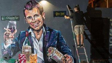 Scott Marsh's mural of NSW Premier Mike Baird against Sydney's lockout laws.