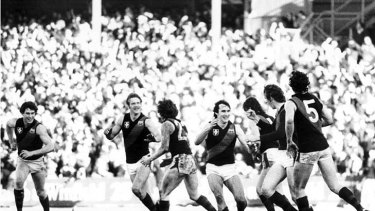 Paul Van Der Haar, Grant Fowler, Glen Hawker, Merv Neagle and Terry Daniher (no. 5), congratulate Neale Daniher (second from right) after his match-winning gaol against Carlton in 1981.
