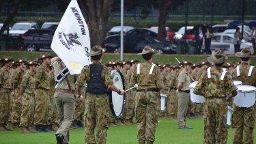 Newington cadets parade in 2012.