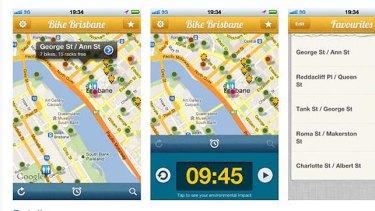 Screen shots from the Bike Brisbane app.