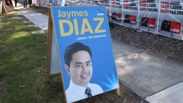 The man who wasn't there: this was the closest the voters of Greenway got to their Liberal candidate on polling day.