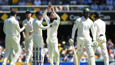 Spin challenge: Usman Khawaja walks off after being trapped in front by Moeen Ali.