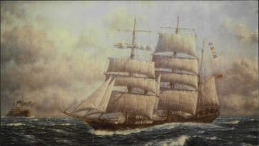 Under full sail: A reproduction of a painting of the James Craig by Oswald Brett.