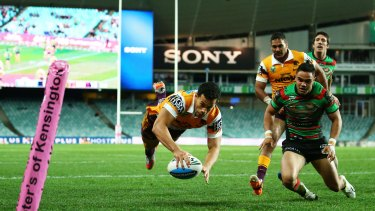 Try time: Brisbane's Jordan Kahu dives over to score against the South Sydney Rabbitohs in 2015.