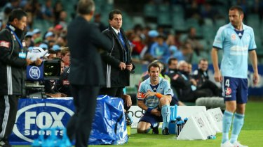 Down and out: Alessandro Del Piero nurses an injury during Saturday night's encounter with Newcastle Jets.