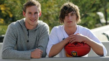 Family ties: St Kilda rookie Jimmy Webster and his brother Zac (Tasmanian under 18s) together at Arden Street.