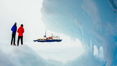 Abandoned ship: The Akademik Shokalskiy remains trapped in pack ice while rescuers consider their options.
