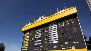 The WACA scoreboard is one of only two manual scoreboards remaining at Australian cricket grounds.