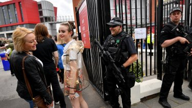 Armed police have been placed around Old Trafford Cricket Ground since the Manchester Arena suicide bombing which killed 22 people.