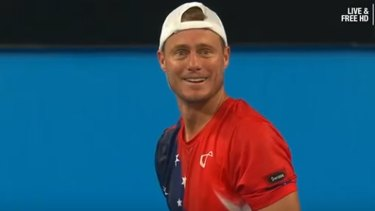 Australian favourite Lleyton Hewitt looked stunned by the show of sportsmanship.