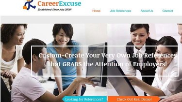 $50 job history: The Career Excuse home page vows to create 'attention-grabbing' references.