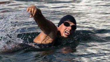 Beaten by a jelly fish sting: Australian long-distance swimmer Chloe McCardel.