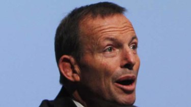 Reaching out for support... Tony Abbott yesterday.
