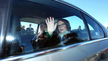 Prime Minister Julia Gillard leaves after the opening of the Hume Freeway bypass of Holbrook.