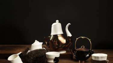 Trent Jansen's Briggs Family Tea Service evokes the clash between settler and indigenous cultures.