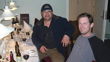 Mihran Shemesian (left) dining with Greenland Minerals and Energy director Jeremy Whybrow.