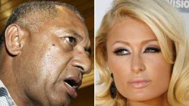 Frank Bainimarama and Paris Hilton.