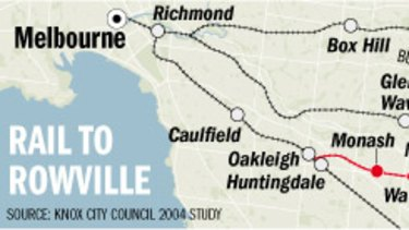 The proposed Rowville line.