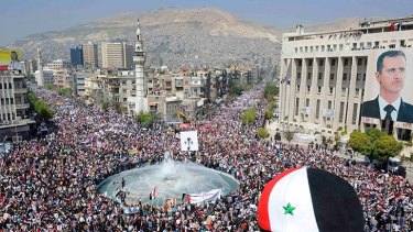 A pro-government rally in Damascus.