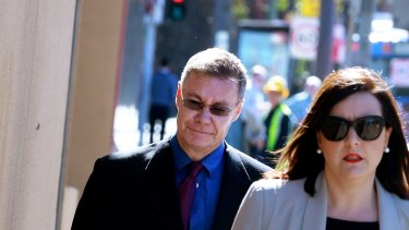Michael Atkins arrives at the Coroner's Court last October for the inquest into the death of Matthew Leveson.