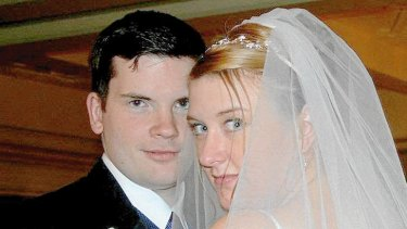 The boy next door … Twitchell and his wife, Jess, on their wedding day in January 2007.