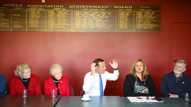 Opposition Leader Tony Abbott meets local residents at Whittlesea RSL club on Tuesday.