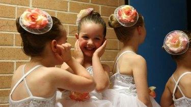 Ballerinas from Tiny Tutus prepare for their recital at Turramurra High School hall.