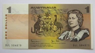 The long-lost Australian $1 note.