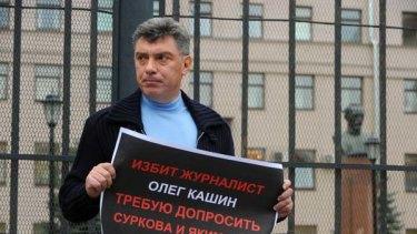 Campaigner for freedom ... Boris Nemtsov demonstrating for the assaulted journalist Oleg Kashin.