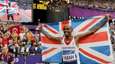 Mo Farah celebrates after winning the gold medal in the men's 5000 metres at the London Olympics.