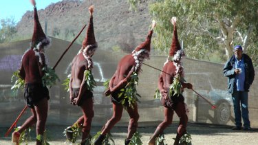 Aboriginal men dance during a three-day indigenous meeting to discuss ways of treating women better at Ross River, Central Australia.