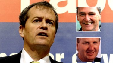 Bill Shorten and (inset top) John Brumby and Craig Langdon.