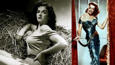 Jane Russell ... clockwise from top left, as she appeared in The Outlaw, Gentlemen Prefer Blondes, Paleface, and pictured in 2005.