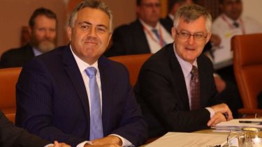 Treasurer Joe Hockey with Treasury secretary Martin Parkinson met state treasurers to discuss GST and infrastructure issues.