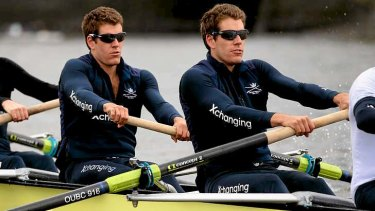 Olympic rowers Tyler  and Cameron Winklevoss in action.