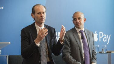 ANZ chief Shayne Elliott at ANZ's Apple Pay launch in April, with products and marketing director Matt Boss.