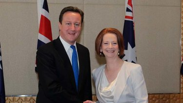 Bilateral talks … Britain's David Cameron with Julia Gillard.