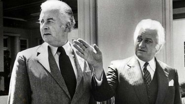 Former prime minister Gough Whitlam and former Governor General Sir John Kerr.
