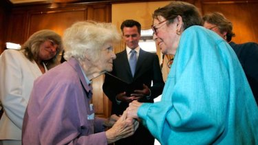 Octogenarians Del Martin, left, and Phyllis Lyon marry in the first legal same-sex marriage ceremony at San Francisco City Hall. California performed its first legally recognised same-sex weddings yesterday.