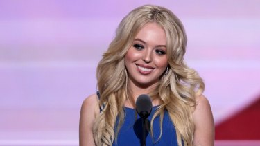 Tiffany Trump, daughter of Republican Presidential Candidate Donald Trump, speaks during the second day of the Republican National Convention in Cleveland, Tuesday, July 19, 2016. (AP Photo/J. Scott Applewhite)