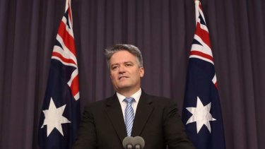 Finance minister Senator Mathias Cormann announces the sale of Medibank Private in Canberra on Wednesday.