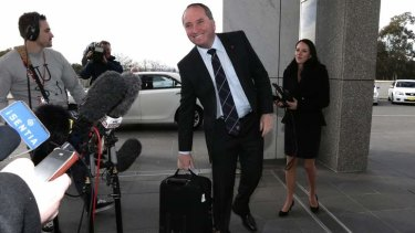 Incoming Member for New England, Barnaby Joyce, arrives at Parliament House last month.