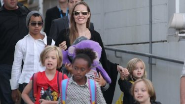Angelina Jolie and her children arrive in Sydney on Friday.