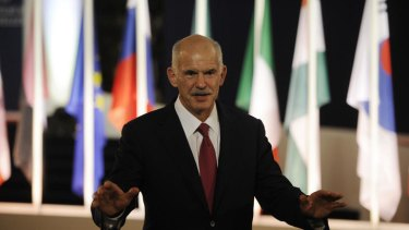 The Greek Prime Minister, George Papandreou, after crisis talks in Cannes.