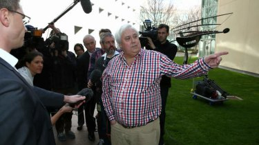 Palmer United Party leader Clive Palmer addresses the media in the Senate courtyard at Parliament House in Canberra on Thursday.