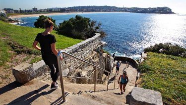 The steep stairway on the coastal walk between Bondi and Tamarama where there are plans to add a wheelchair and pram friendly pathway.